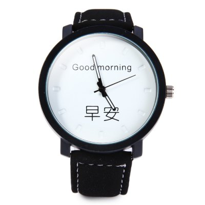Men Quartz Watch with Greetings Dial Leather Band