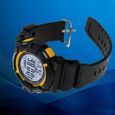 SUNROAD FR713A Fishing Barometer WatchSports Watches<br>SUNROAD FR713A Fishing Barometer Watch<br><br>Available Color: Yellow<br>Band material: PU<br>Battery Type: CR2032<br>Brand: SUNROAD<br>Case material: ABS<br>Clasp type: Pin buckle<br>Display type: Digital<br>Hour formats: 12/24 Hour<br>Movement type: Digital watch<br>Package Contents: 1 x watch, 1 x manual, 1 x cloth<br>Package size (L x W x H): 11.00 x 10.00 x 9.00 cm / 4.33 x 3.94 x 3.54 inches<br>Package weight: 0.097 kg<br>People: Male table<br>Product size (L x W x H): 25.00 x 4.70 x 1.60 cm / 9.84 x 1.85 x 0.63 inches<br>Product weight: 0.047 kg<br>Shape of the dial: Round<br>Special features: Weather forecast, Thermometer, Stopwatch, EL Back-light, Alarm Clock, Altimeter, Countdown function, Barometer, Date<br>The band width: 2.2 cm / 0.86 inches<br>The dial diameter: 4.7 cm / 1.85 inches<br>The dial thickness: 1.6 cm / 0.63 inches<br>Watch style: Fashion&amp;Casual, Military, Outdoor Sports<br>Water resistance : 30 meters