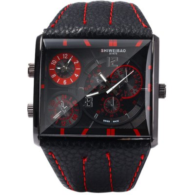 Shiweibao A1475 Male Dual Movt Quartz Watch with Leather BandMens Watches<br>Shiweibao A1475 Male Dual Movt Quartz Watch with Leather Band<br><br>Available Color: Black,Red,Blue,Brown<br>Band material: Leather<br>Brand: Shiweibao<br>Case material: Stainless Steel<br>Clasp type: Pin buckle<br>Display type: Analog<br>Movement type: Double-movtz<br>Package Contents: 1 x Shiweibao A1475 Watch<br>Package size (L x W x H): 27 x 6 x 2 cm / 10.61 x 2.36 x 0.79 inches<br>Package weight: 0.128 kg<br>Product size (L x W x H): 26 x 5 x 1 cm / 10.22 x 1.97 x 0.39 inches<br>Product weight: 0.078 kg<br>Shape of the dial: Rectangle<br>Special features: Decorating small sub-dials<br>The dial diameter: 5.0 cm / 1.97 inches<br>The dial thickness: 1.0 cm / 0.39 inches<br>Watch style: Fashion<br>Watches categories: Male table<br>Wearable length: 18 - 22.5 cm / 7.09 - 8.86 inches