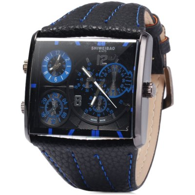 Shiweibao A1475 Male Dual Movt Quartz Watch with Leather Band