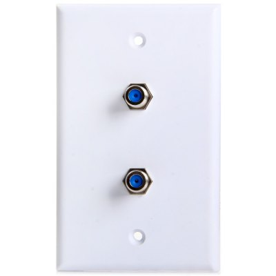2-Port F Female to Female Connector Wall Plate