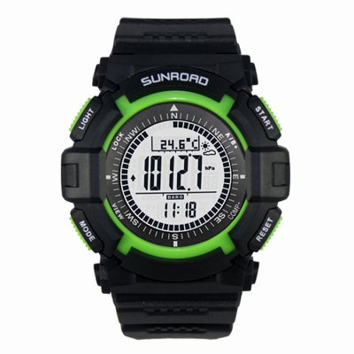 SUNROAD FR822A Male Sports WatchSports Watches<br>SUNROAD FR822A Male Sports Watch<br><br>Available Color: Green<br>Band material: PU<br>Battery Type: CR2032<br>Brand: SUNROAD<br>Case material: ABS<br>Clasp type: Pin buckle<br>Display type: Digital<br>Hour formats: 12/24 Hour<br>Movement type: Digital watch<br>Package Contents: 1 x SUNROAD FR822A Sports Watch, 1 x Chinese and English Manual, 1 x Packing Box<br>Package size (L x W x H): 11.00 x 10.00 x 9.00 cm / 4.33 x 3.94 x 3.54 inches<br>Package weight: 0.188 kg<br>People: Male table<br>Product size (L x W x H): 28.00 x 5.00 x 1.50 cm / 11.02 x 1.97 x 0.59 inches<br>Product weight: 0.047 kg<br>Shape of the dial: Round<br>Special features: World time clock timer countdown, Thermometer, Stopwatch, EL Back-light, Day, Alarm Clock, Altimeter, Countdown function, Barometer, Compass, Date<br>The band width: 2.5 cm / 0.98 inches<br>The dial diameter: 5.0 cm / 1.97 inches<br>The dial thickness: 1.5 cm / 0.59 inches<br>Watch style: Fashion&amp;Casual, Military, Outdoor Sports<br>Water resistance : 30 meters