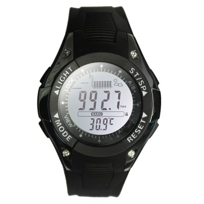 SUNROAD FX702A Male Fishing Digital WatchSports Watches<br>SUNROAD FX702A Male Fishing Digital Watch<br><br>Available Color: Black,Silver<br>Band material: PU<br>Battery Type: CR2032<br>Brand: SUNROAD<br>Case material: ABS<br>Clasp type: Pin buckle<br>Display type: Digital<br>Hour formats: 12/24 Hour<br>Movement type: Digital watch<br>Package Contents: 1 x SUNROAD FX702A Fishing Barometer Watch, 1 x Chinese and English Manual, 1 x Packing Box<br>Package size (L x W x H): 11.00 x 10.00 x 9.00 cm / 4.33 x 3.94 x 3.54 inches<br>Package weight: 0.1480 kg<br>People: Male table<br>Product size (L x W x H): 28.00 x 4.70 x 1.60 cm / 11.02 x 1.85 x 0.63 inches<br>Product weight: 0.0470 kg<br>Shape of the dial: Round<br>Special features: Countdown function, Weather forecast, Thermometer, EL Back-light, Date, Altimeter, Barometer<br>The band width: 2.2 cm / 0.86 inches<br>The dial diameter: 4.7 cm / 1.85 inches<br>The dial thickness: 1.6 cm / 0.63 inches<br>Watch style: Fashion&amp;Casual, Military, Outdoor Sports<br>Water resistance : 30 meters