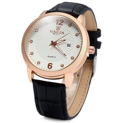 Valia 8610 - 1 Diamond Scales Date Function Male Quartz Watch with Leather Band