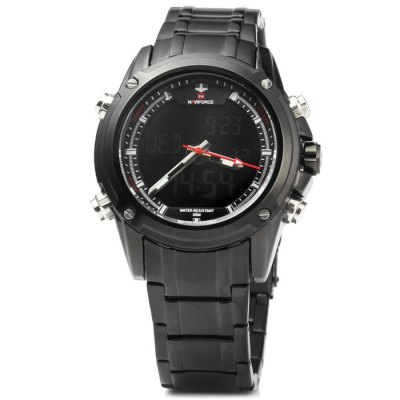 Naviforce NF9050M Men Japan Movt WatchSports Watches<br>Naviforce NF9050M Men Japan Movt Watch<br><br>Available Color: White,Red,Blue,Yellow<br>Band material: Stainless Steel<br>Brand: Naviforce<br>Case material: Stainless Steel<br>Clasp type: Folding clasp with safety<br>Display type: Analog-Digital<br>Hour formats: 12/24 Hour<br>Movement type: Double-movtz<br>Package Contents: 1 x Naviforce NF9050M LED Sports Watch<br>Package size (L x W x H): 23 x 5.2 x 2.3 cm / 9.04 x 2.04 x 0.90 inches<br>Package weight: 0.211 kg<br>People: Male table<br>Product size (L x W x H): 22 x 4.2 x 1.3 cm / 8.65 x 1.65 x 0.51 inches<br>Product weight: 0.161 kg<br>Shape of the dial: Round<br>Special features: Day, Stopwatch, IP plating, Date<br>The band width: 2 cm / 0.79 inches<br>The dial diameter: 4.2 cm / 1.65 inches<br>The dial thickness: 1.3 cm / 0.51 inches<br>Watch style: Outdoor Sports, LED<br>Water resistance : 30 meters