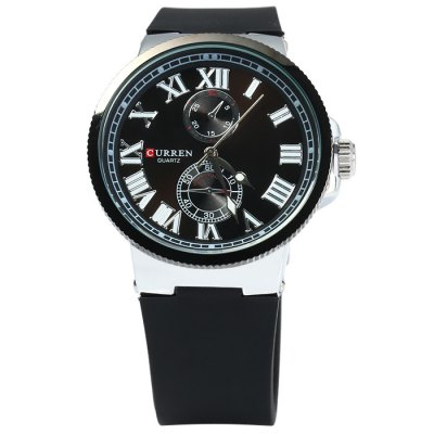 Curren 8160 Male Quartz Watch with Gear Case Rubber BandMens Watches<br>Curren 8160 Male Quartz Watch with Gear Case Rubber Band<br><br>Available Color: Black,White,Blue,Brown,Black and white,Gold and Black<br>Band material: Rubber<br>Brand: Curren<br>Case material: Stainless Steel<br>Clasp type: Pin buckle<br>Display type: Analog<br>Movement type: Quartz watch<br>Package Contents: 1 x Curren 8160 Watch<br>Package size (L x W x H): 27.5 x 5.5 x 2.1 cm / 10.81 x 2.16 x 0.83 inches<br>Package weight: 0.131 kg<br>Product size (L x W x H): 26.5 x 4.5 x 1.1 cm / 10.41 x 1.77 x 0.43 inches<br>Product weight: 0.081 kg<br>Shape of the dial: Round<br>Special features: Decorating small sub-dials<br>The band width: 2.2 cm / 0.87 inches<br>The dial diameter: 4.5 cm / 1.77 inches<br>The dial thickness: 1.1 cm / 0.63 inches<br>Watch style: Fashion<br>Watches categories: Male table<br>Wearable length: 17.5 - 22 cm / 6.89 - 8.66 inches