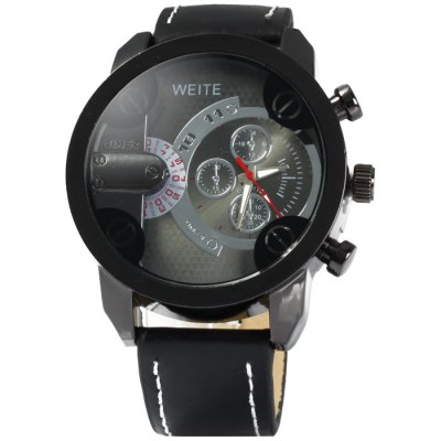 Weite Men Quartz Watch with Leather BandMens Watches<br>Weite Men Quartz Watch with Leather Band<br><br>Available Color: Black,Red,Brown,Gray<br>Band material: Leather<br>Brand: Weite<br>Case material: Stainless Steel<br>Clasp type: Pin buckle<br>Display type: Analog<br>Movement type: Quartz watch<br>Package Contents: 1 x Weite Watch<br>Package size (L x W x H): 28 x 6 x 2.2 cm / 11.00 x 2.36 x 0.86 inches<br>Package weight: 0.129 kg<br>Product size (L x W x H): 27 x 5 x 1.2 cm / 10.61 x 1.97 x 0.47 inches<br>Product weight: 0.079 kg<br>Shape of the dial: Round<br>Special features: Decorating small sub-dials<br>The band width: 2.2 cm / 0.87 inches<br>The dial diameter: 5.0 cm / 1.97 inches<br>The dial thickness: 1.2 cm / 0.47 inches<br>Watch style: Casual<br>Watches categories: Male table<br>Wearable length: 19 - 23 cm / 7.48 - 9.06 inches
