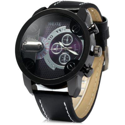 Weite Men Quartz Watch with Leather Band