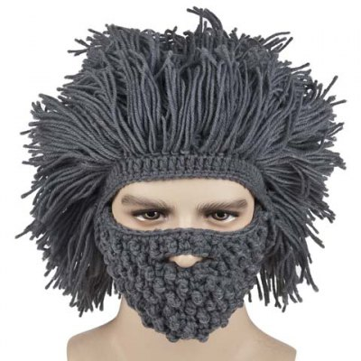 Faux Hair Knitted Beard Face Hat