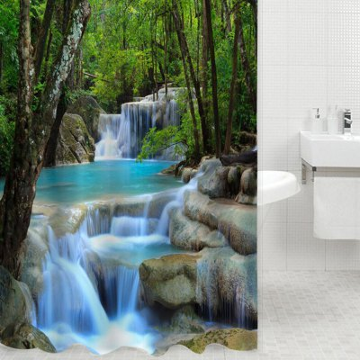 3D Waterfall Nature Scenery Bath Curtain