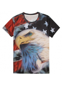 Round Neck 3D Bald Eagle Flag Print Slimming Short Sleeve Men's T-Shirt