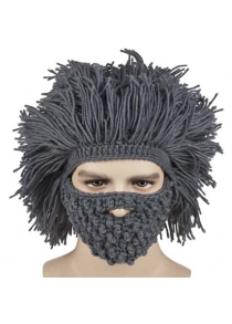 Stylish Beard and Hair Shape Design Knitted Hat for Men