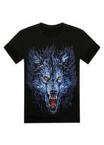 Modish Loose Fit Round Neck 3D Wolf Head Pattern Short Sleeve Cotton Blend T-Shirt For Men