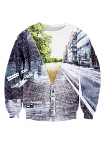 Creative 3D Zipper Street Scenery Print Graphic Sweatshirts