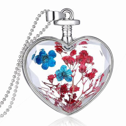 Classic Dried Flower Heart Womens Pendant Necklace