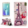 ENKAY Purple Tower Pattern PU Leather Smart Fit Wallet Folio Case Kickstand Design with Credit Card Slot for Samsung Galaxy S6 Edge Plus