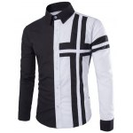 Trendy Slimming Shirt Collar Color Block Cross Pattern Splicing Long Sleeve Polyester Shirt For Men