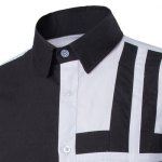 Trendy Slimming Shirt Collar Color Block Cross Pattern Splicing Long Sleeve Polyester Shirt For Men deal