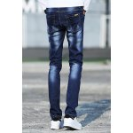 Stylish Narrow Feet Cat's Whisker Scratch Design Slimming Zipper Fly Men's Ombre Jeans deal