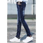 cheap Stylish Narrow Feet Cat's Whisker Scratch Design Slimming Zipper Fly Men's Ombre Jeans