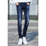 Stylish Narrow Feet Cat's Whisker Scratch Design Slimming Zipper Fly Men's Ombre Jeans