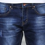 Stylish Narrow Feet Cat's Whisker Scratch Design Slimming Zipper Fly Men's Ombre Jeans photo