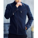 Buy Special Shoulder Multi-Zipper Button Sutures Design Slimming Stand Collar Long Sleeves Men's Jacket 3XL