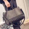 cheap Stylish PU Leather and Rivets Design Solid Color Women's Tote Bag