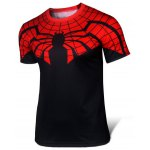 Buy Stylish Skinny Round Neck 3D Spider-Man Pattern Color Block Short Sleeve Superhero T-Shirt Men XL RED WITH BLACK