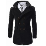 cheap Slimming Stand Collar Inclined Top Fly Color Spliced Flap Pocket Men's Long Sleeves Peacoat