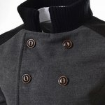 Slimming Stand Collar Inclined Top Fly Color Spliced Flap Pocket Men's Long Sleeves Peacoat for sale