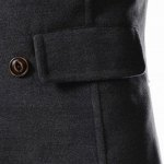 best Slimming Stand Collar Inclined Top Fly Color Spliced Flap Pocket Men's Long Sleeves Peacoat