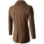 Knitted Lapel PU Leather Spliced Multi-Button Slimming Long Sleeves Men's Woolen Blend Thicken Peacoat deal