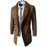 cheap Knitted Lapel PU Leather Spliced Multi-Button Slimming Long Sleeves Men's Woolen Blend Thicken Peacoat