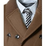 Knitted Lapel PU Leather Spliced Multi-Button Slimming Long Sleeves Men's Woolen Blend Thicken Peacoat for sale
