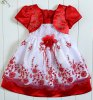Buy Cute Short Sleeve Square Neck Rhinestoned Embroidery Embellished Girl's Dress 110 RED