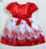 cheap Cute Short Sleeve Square Neck Rhinestoned Embroidery Embellished Girl's Dress