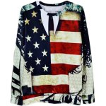 Buy Fashion Fitted Round Neck 3D Stars Stripes Print Long Sleeve Cotton Blend Sweatshirt Men L