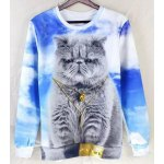 Buy Fashion Fitted Round Neck 3D Fat Cat Pattern Long Sleeve Cotton Blend Sweatshirt Men XL