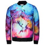 Slimming Stand Collar 3D Colorful Universe Letter Print  Long Sleeve Men's Jacket