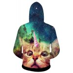 cheap Stylish Fitted Hooded 3D Cat Head Print Long Sleeve Cotton Blend Hoodie For Men