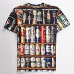 cheap Round Neck 3D Beer Print Slimming Short Sleeve Men's T-Shirt
