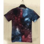 cheap Round Neck 3D Starry Sky Extra-Terrestrial Print Slimming Short Sleeve Men's T-Shirt