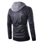 cheap Hooded Faux Twinset Rib PU Leather Jacket