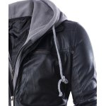 Hooded Faux Twinset Rib PU Leather Jacket deal