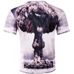cheap Stylish Slimming Round Neck 3D Mushroom Cloud Pattern Short Sleeve Cotton Blend T-Shirt For Men