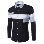 Buy Black Trendy Slimming Shirt Collar Multicolor Irregular Splicing Long Sleeve Polyester Men-15.34 Online Shopping GearBest.com