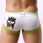 Buy Comfortable Breathable U Convex Pouch Design Cartoon Fly Print Color Block Splicing Cotton Trunks Men