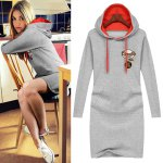 cheap Casual Hooded Long Sleeve Embellished Straight Color Block Women's Dress