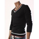 cheap Fashion Slimming V-Neck Color Block Striped Rib Design Long Sleeve Cotton Blend Knitted T-Shirt For Men